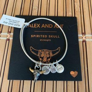 NWT Alex & Ani Spirited Skull Bracelet Longhorn